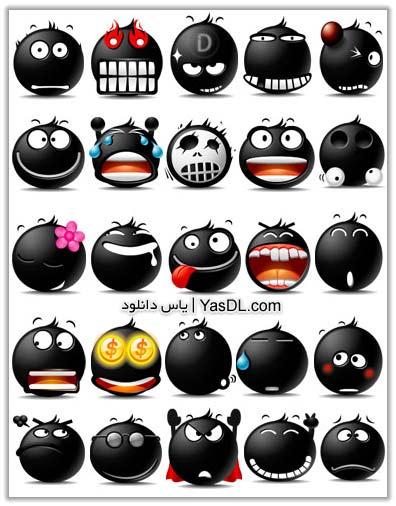 دانلود آیکون شکلک های سیاه  Black Smiles Icons Pack