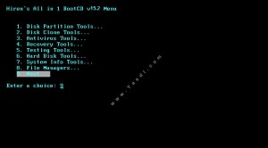 ScreenShot Hirens boot CD Menu