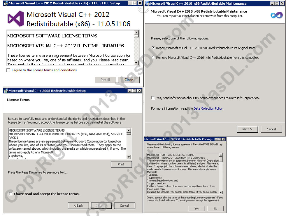 visual c++ redistributable packages 2013 and 2017