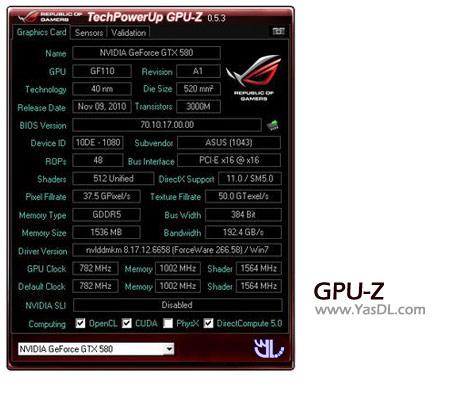دانلود GPU-Z 0.8.6 / ASUS ROG Skin - نرم افزار نمایش اطلاعات کارت گرافیک