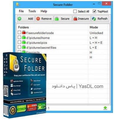 دانلود Secure Folder 7.8 - نرم افزار رمزگذاری روی فایل و پوشه