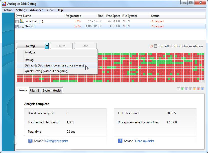 Auslogics Disk Defrag Free 6 0 1 0 نسخه رایگان دیفراگمنت - 55