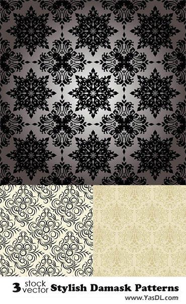 دانلود مجموعه 3 وکتور گلدار شیک stylish damask Patterns
