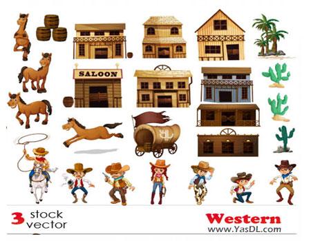 دانلود Western Vectors Pack - مجموعه وکتورهای آماده وسترن
