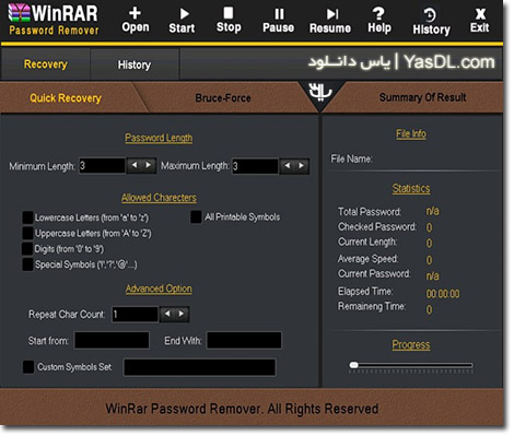 دانلود Winrar Password Remover & Unlocker 1.0.6.2 شکستن رمز