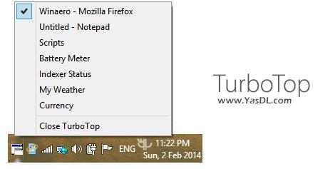 دانلود TurboTop 2.8.0.21 - قرار دادن یک پنجره بر روی سایر پنجره ها در ویندوز به صورت ثابت