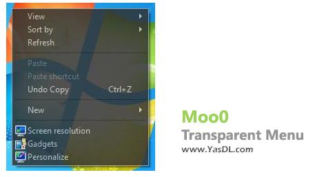 دانلود Moo0 Transparent Menu 1.21 - دادن افکت شفاف به منوها در ویندوز