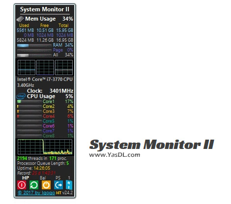دانلود System Monitor II 27.1 - ویجت نمایش اطلاعات سیستم برای ویندوز 10